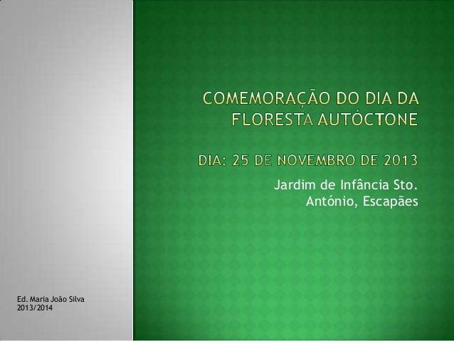 Jardim de Infância Sto. António, Escapães  Ed. Maria João Silva 2013/2014