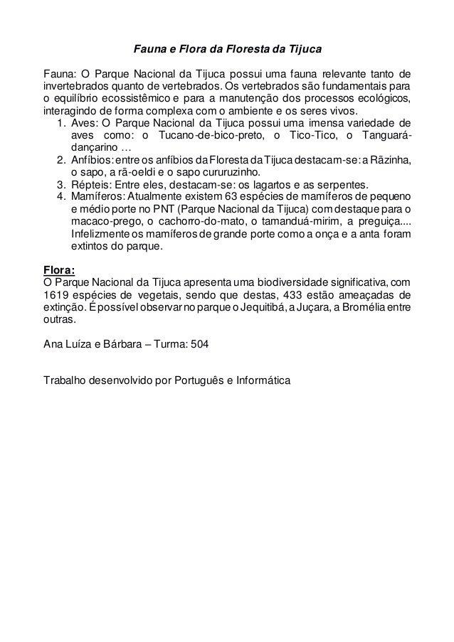 Fauna e Flora da Floresta da Tijuca Fauna: O Parque Nacional da Tijuca possui uma fauna relevante tanto de invertebrados q...