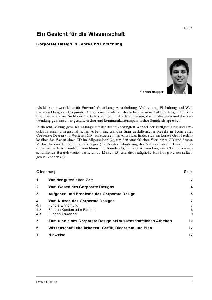 Florian Hugger: Corporate Design in Lehre und Forschung