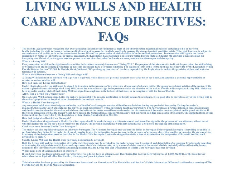 Advance Medical Directive Form. Living Will (Advance Health Care ...