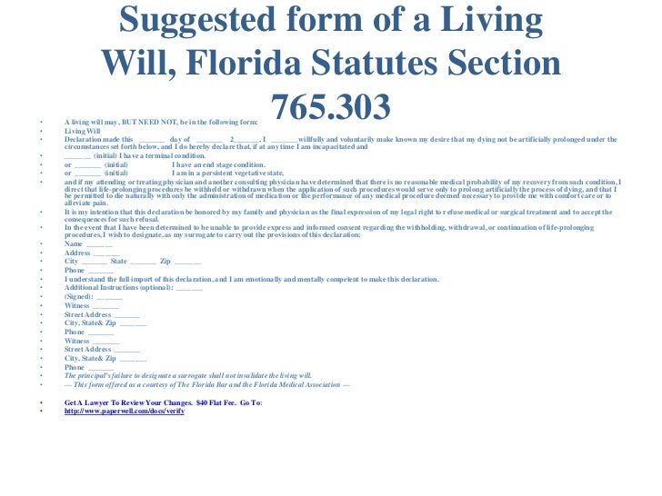 Florida Advance Directives Living Will Healthcare Surrogate  Mental