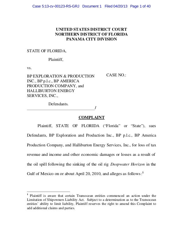 Case 5:13-cv-00123-RS-GRJ Document 1 Filed 04/20/13 Page 1 of 40                    UNITED STATES DISTRICT COURT          ...