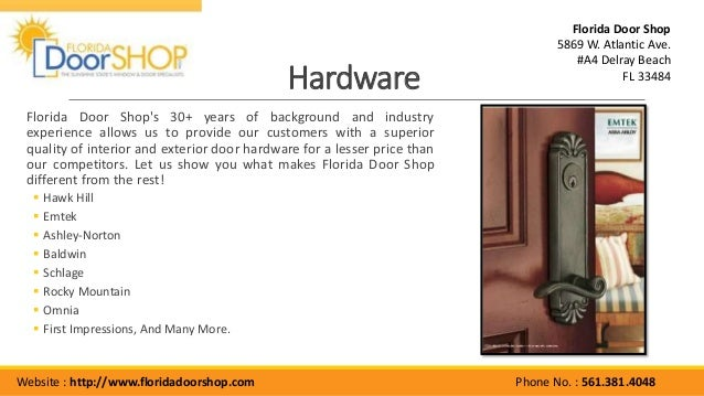 561.381.4048; 6. Hardware Florida Door ...