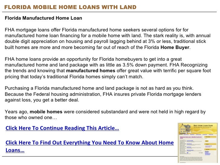 FLORIDA MOBILE HOME LOANS WITH LAND Florida Manufactured Home Loan FHA mortgage loans offer Florida manufactured home seek...