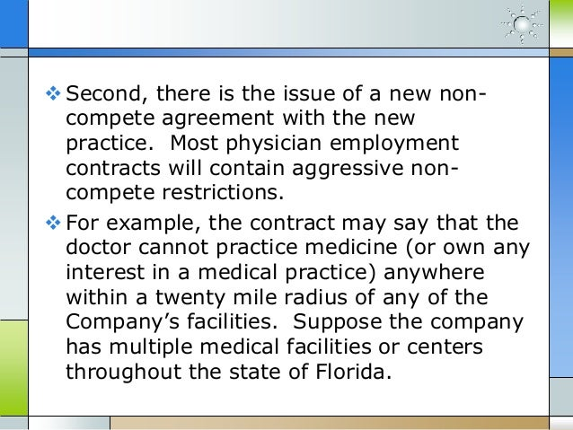 Florida Non Compete Agreements Physician Employment Contracts