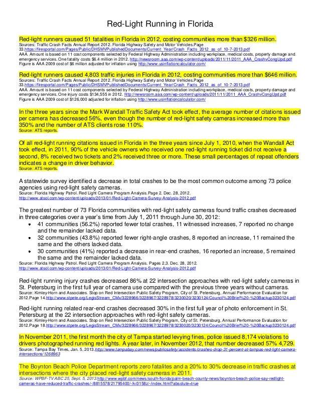 Running A Red Light Ticket >> Florida Red Light Running Fact Sheet
