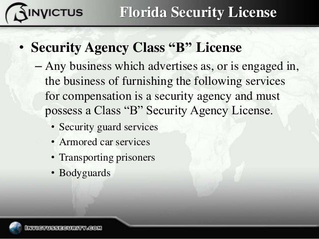 Florida Security License Types