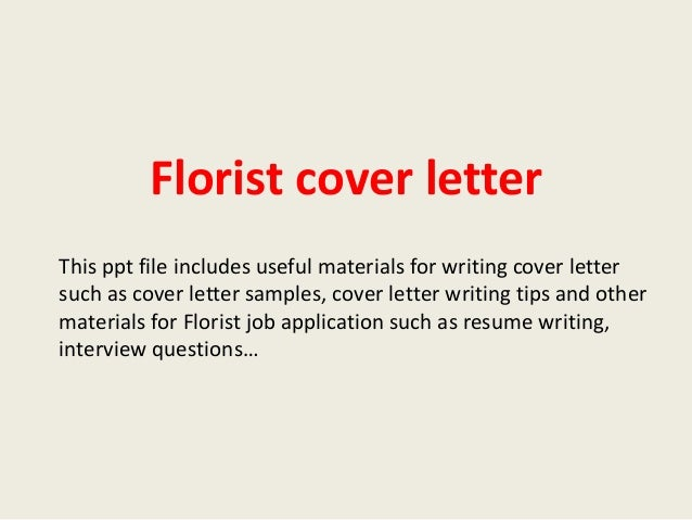 Sample Cover Letters For Floral