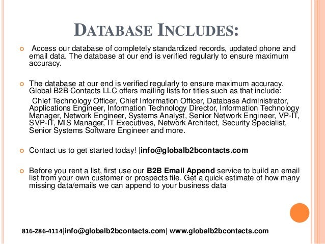 DATABASE INCLUDES:  Access our database of completely standardized records, updated phone and email data. The database at...