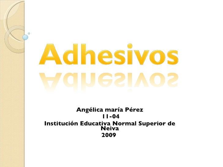 Angélica maría Pérez 11-04 Institución Educativa Normal Superior de Neiva 2009