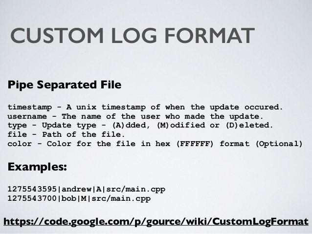 CUSTOM LOG FORMAT Pipe Separated File timestamp - A unix timestamp of when the update occured. username - The name of the...