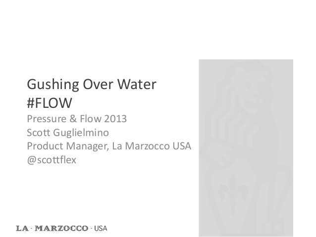 Gushing Over Water#FLOWPressure & Flow 2013Scott GuglielminoProduct Manager, La Marzocco USA@scottflex