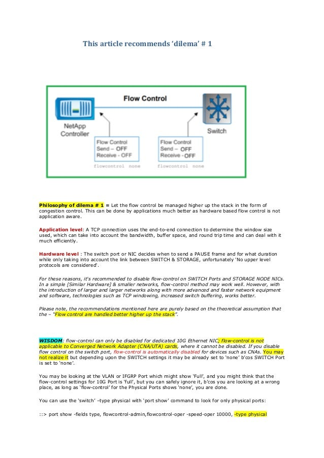 ONTAP storage network flow control