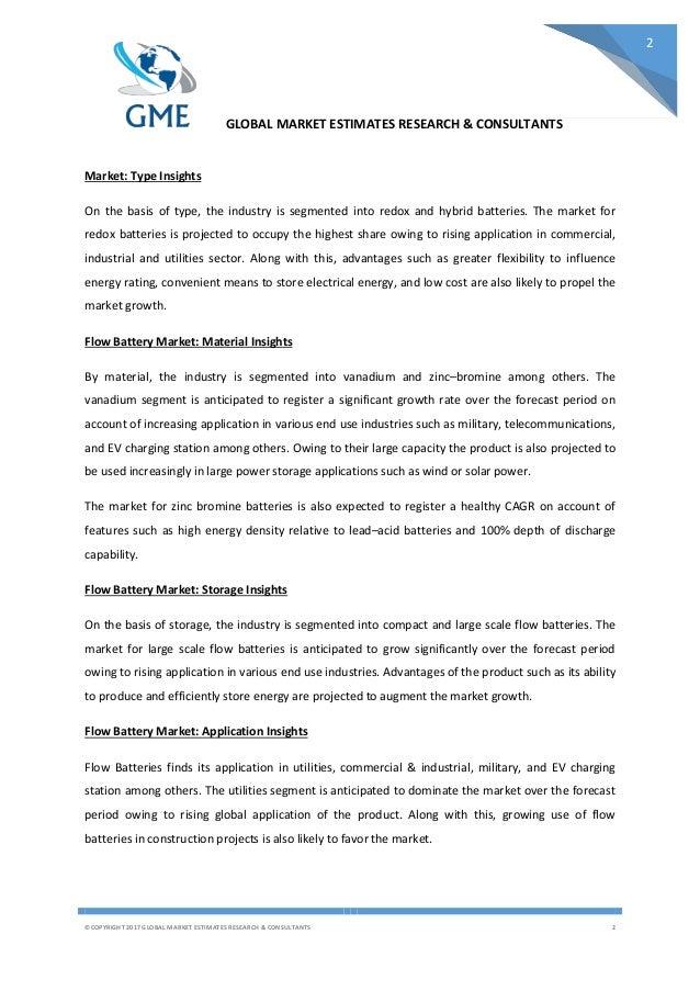 Flow battery Market - Global Flow battery Industry Size