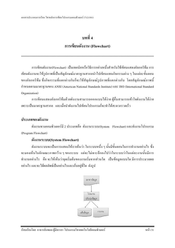 เอกสารประกอบการเรียน วิชาหลักการเขียนโปรแกรมคอมพิวเตอร (7121501)                                                 บทที่ 4 ...