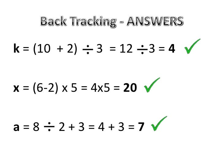Solving 2 Step Equations with Back Tracking