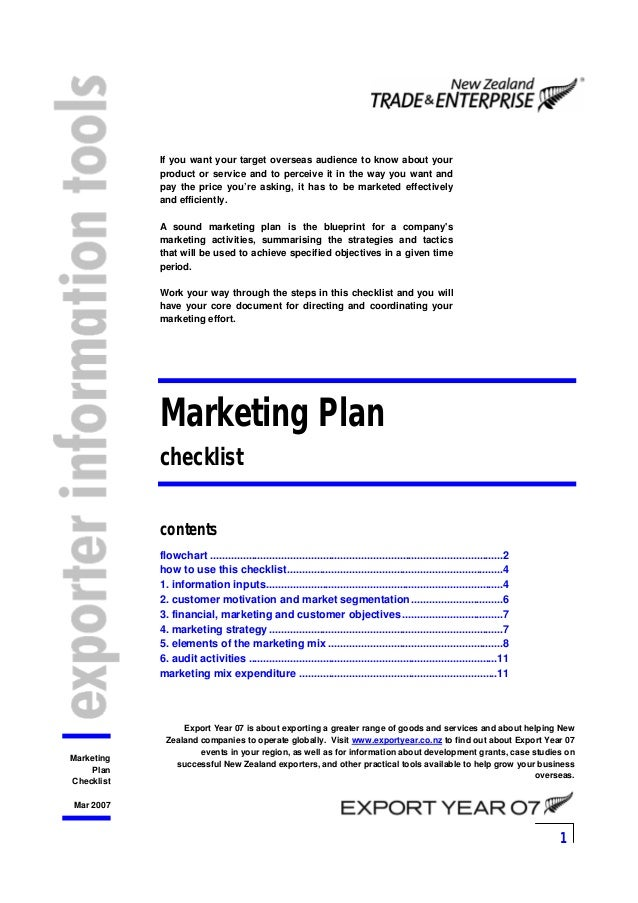 1 Marketing Plan Checklist Mar 2007 If you want your target overseas audience to know about your product or service and to...