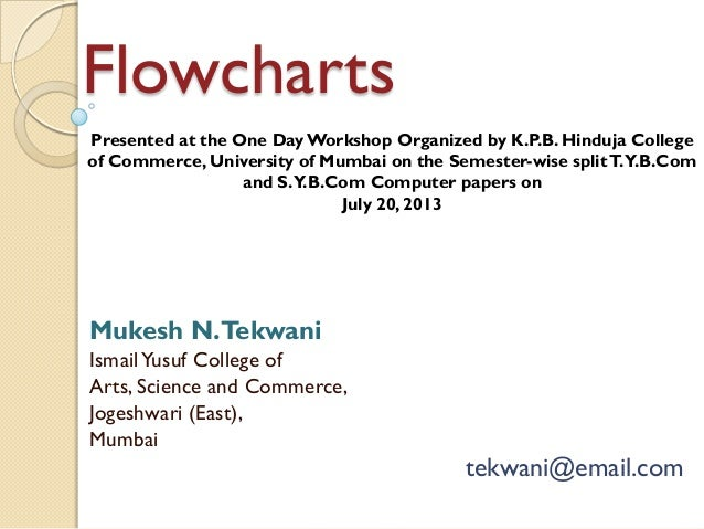 Flowcharts Mukesh N.Tekwani IsmailYusuf College of Arts, Science and Commerce, Jogeshwari (East), Mumbai tekwani@email.com...
