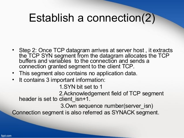 Establish a connection(2) • Step 2: Once TCP datagram arrives at server host , it extracts the TCP SYN segment from the da...