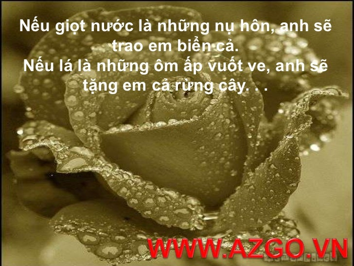 Nếu giọt nước là những nụ hôn, anh sẽ trao em biển cả. Nếu lá là những ôm ấp vuốt ve, anh sẽ tặng em cả rừng cây. . .<br /...