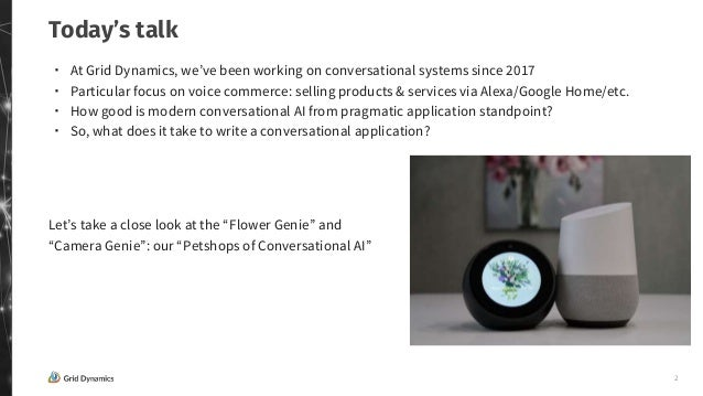 """""""How to build cool & useful voice commerce applications using devices like Alexa & Google Home"""" by Victoria Livschitz, founder of Grid Dynamics Slide 2"""