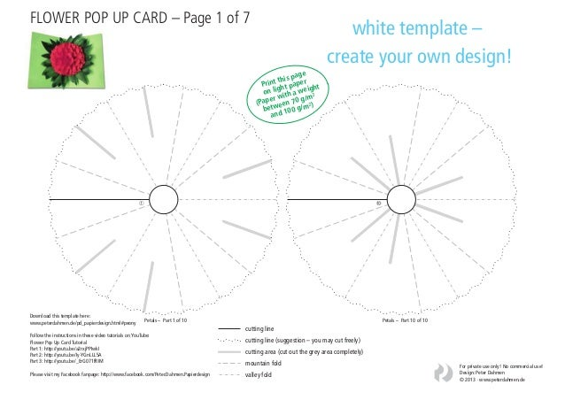 flower pop up card template white
