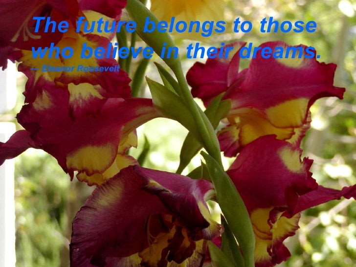 The future belongs to those who believe in their dreams. — Eleanor Roosevelt