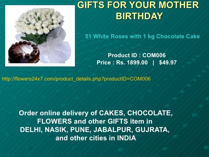 GIFTS FOR YOUR MOTHER                                    BIRTHDAY                                51 White Roses with 1 kg ...