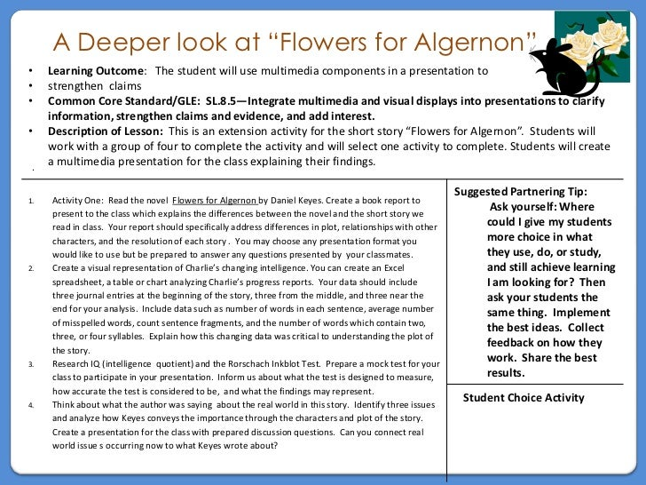 "flowers for algernon task card a deeper look at ""flowers for algernon""• learning outcome the student will"