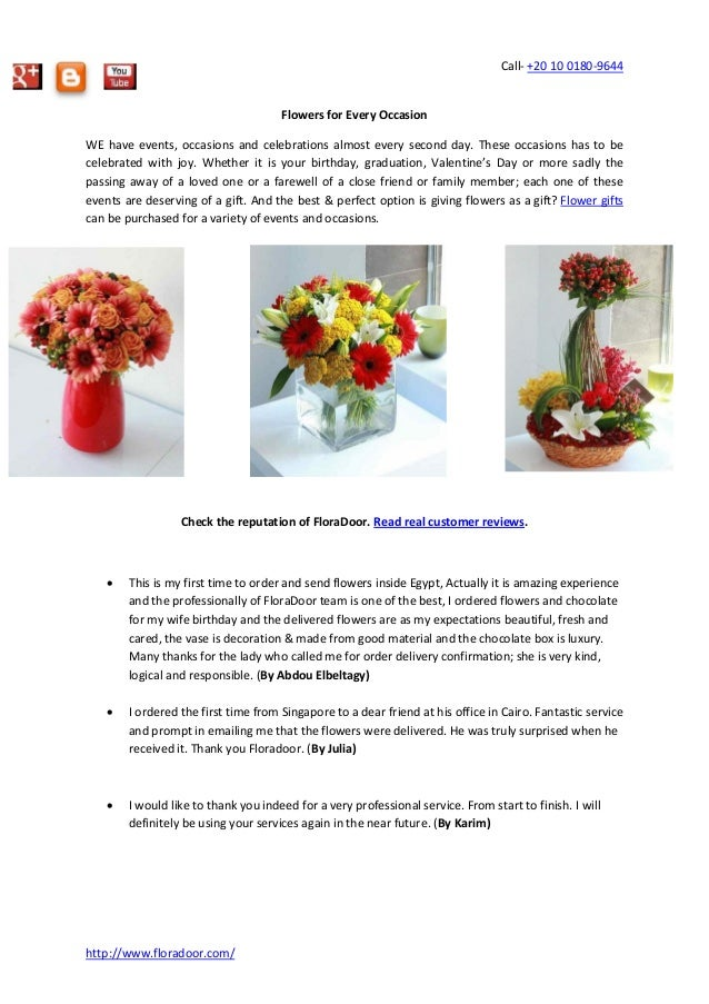 Call- +20 10 0180-9644 http://www.floradoor.com/ Flowers for Every Occasion WE have events, occasions and celebrations alm...