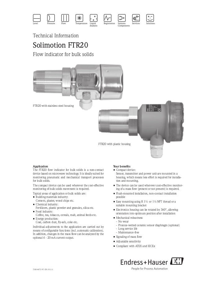 TI00447F/97/EN/05.11Technical InformationSolimotion FTR20Flow indicator for bulk solidsYour benefits•Compact device:Sens...