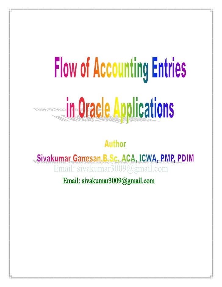 Objective: This Document is to make the user to understand the flow of accounting in Oracleapplications, in Purchasing, Ma...