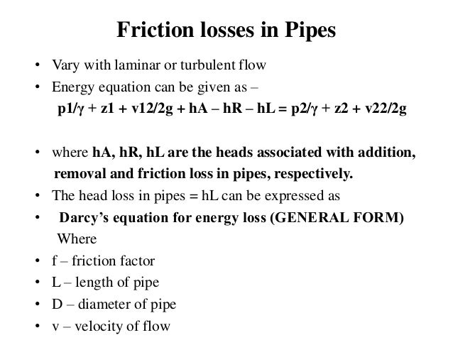 Flow through pipes