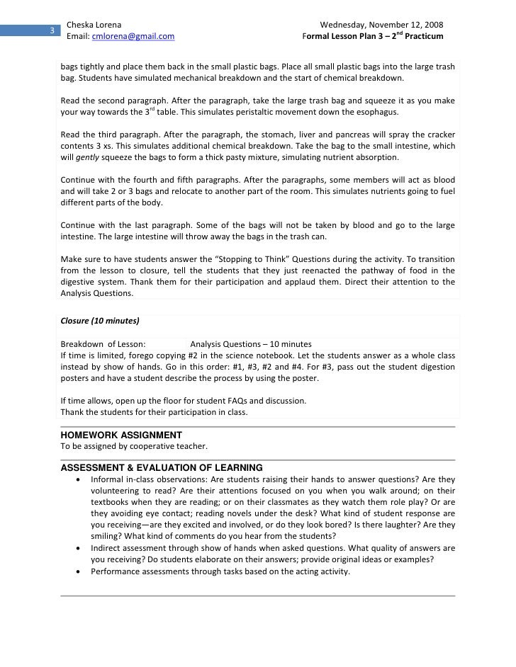 Practicum 2 Lesson Plan on Digestive System – Digestive System Worksheet High School