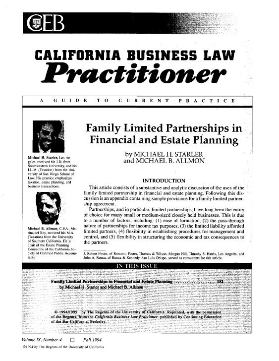 Family Limited Partnerships in Financial and Estate Planning