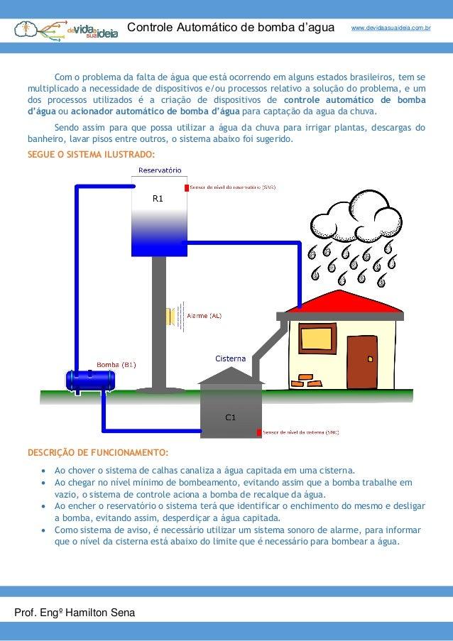 Controle Automático de bomba d'agua www.devidaasuaideia.com.br Prof. Engº Hamilton Sena Com o problema da falta de água qu...