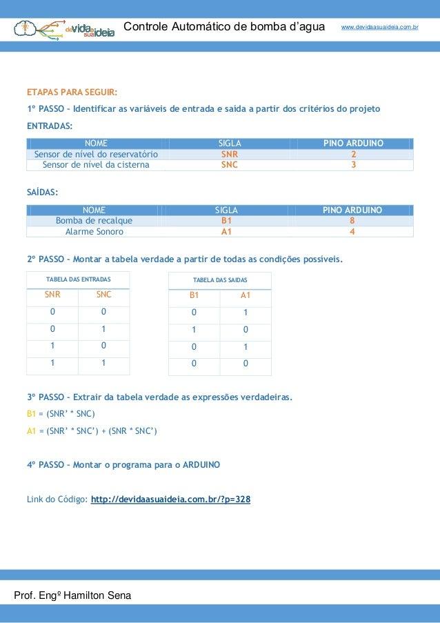 Controle Automático de bomba d'agua www.devidaasuaideia.com.br Prof. Engº Hamilton Sena ETAPAS PARA SEGUIR: 1º PASSO – Ide...