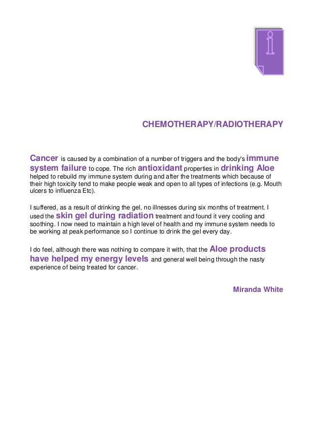 CHEMOTHERAPY/RADIOTHERAPYCancer is caused by a combination of a number of triggers and the bodys immunesystem failure to c...