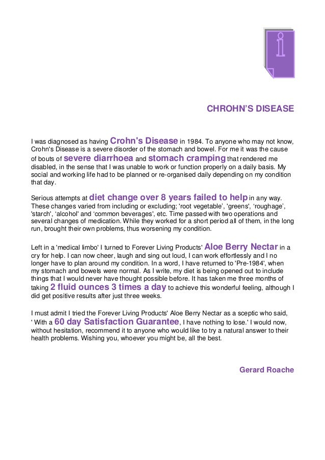 CHROHN'S DISEASEI was diagnosed as having Crohns Disease in 1984. To anyone who may not know,Crohns Disease is a severe di...
