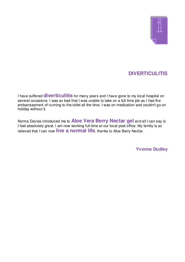 DIVERTICULITISI have suffered diverticulitis for many years and I have gone to my local hospital onseveral occasions. I wa...