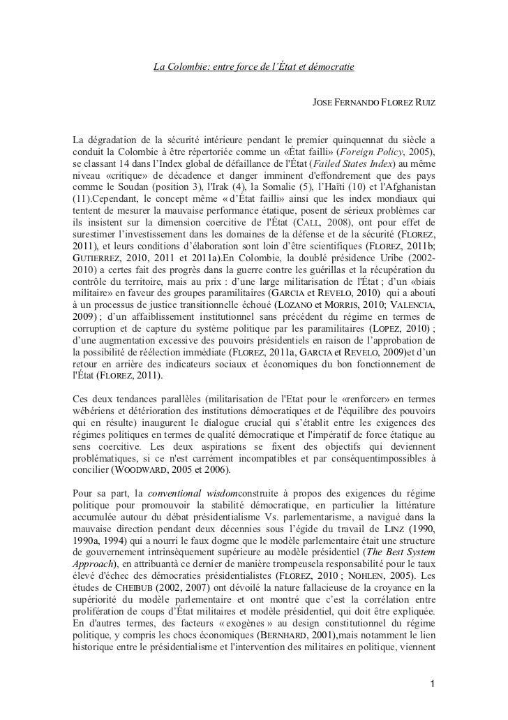 La Colombie: entre force de l'État et démocratie                                                            JOSE FERNANDO ...