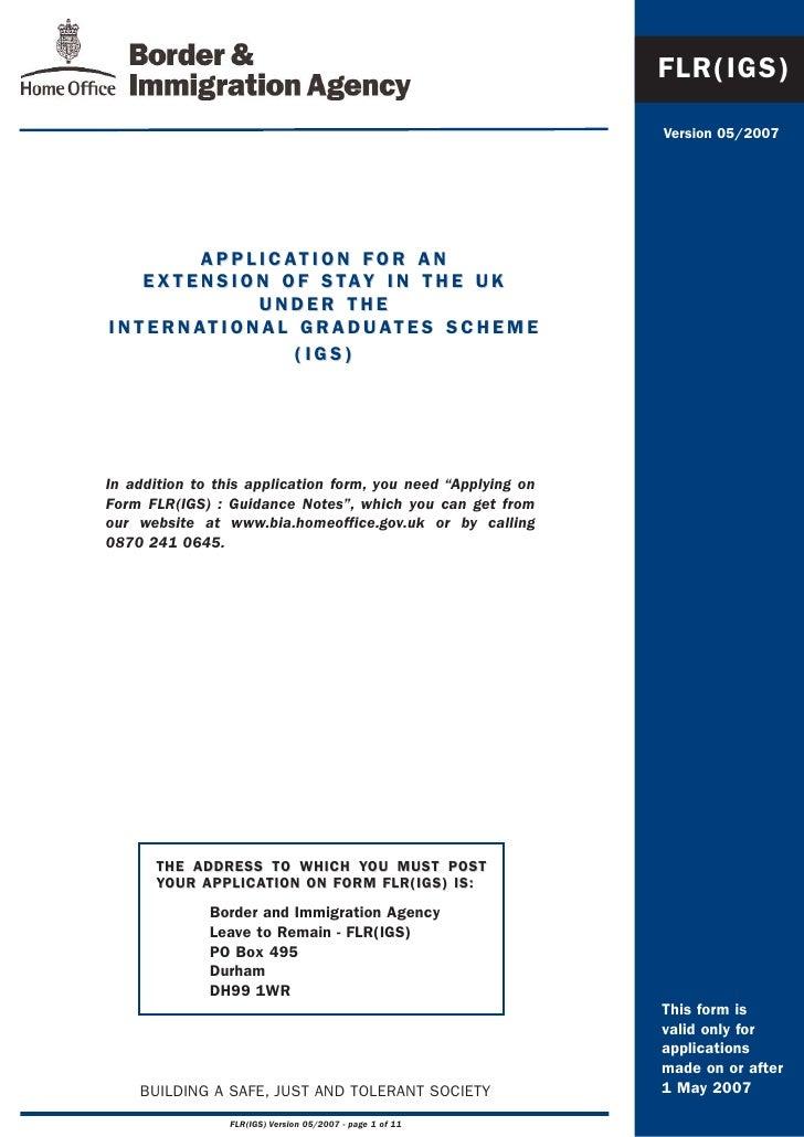 FLR(IGS)                                                                Version 05/2007                  A P P L I C AT I ...