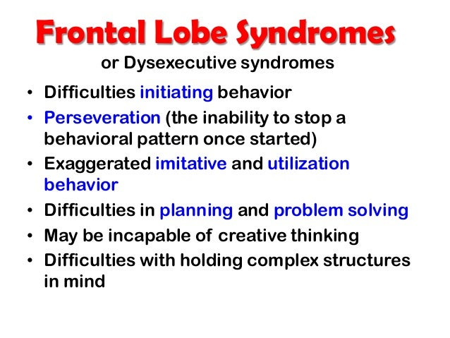 dysexecutive syndrome Psychology definition of dysexecutive syndrome (des): a collection of symptoms that involve impaired executive control over actions caused by frontal lobe brain damage.