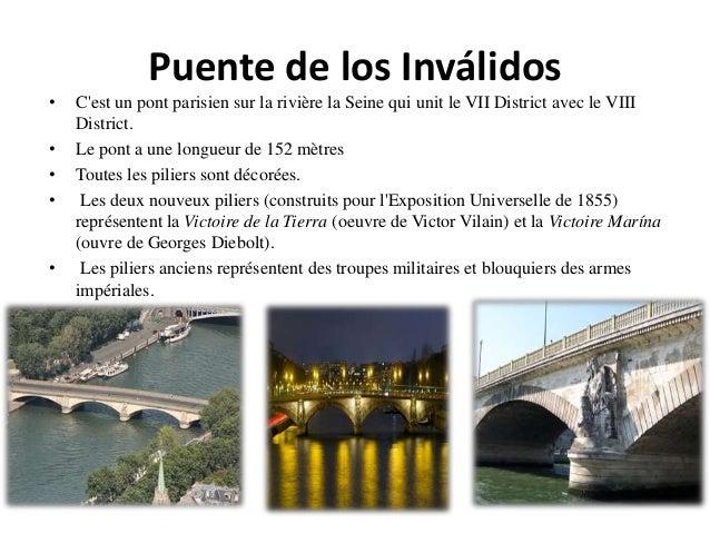 Puente de los Inválidos • C'est un pont parisien sur la rivière la Seine qui unit le VII District avec le VIII District. •...