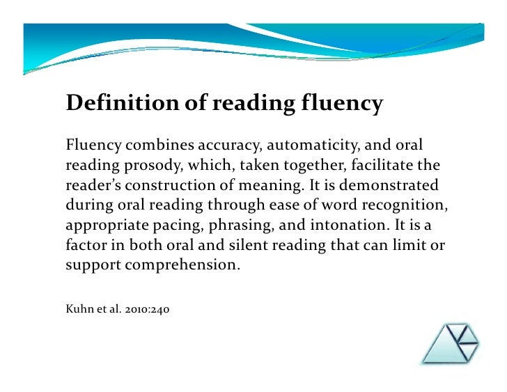 Attractive Definition Of Reading Fluency ...