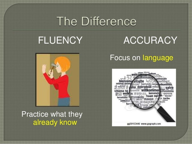 fluency and accuracy in english Accuracy and fluency aims: to look at the origins of the accuracy fluency distinction to ask you whether you find the distinction a) valid b) useful.