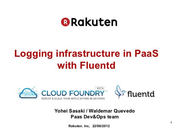 Logging infrastructure in PaaS         with Fluentd        Yohei Sasaki / Waldemar Quevedo              Paas Dev&Ops team ...