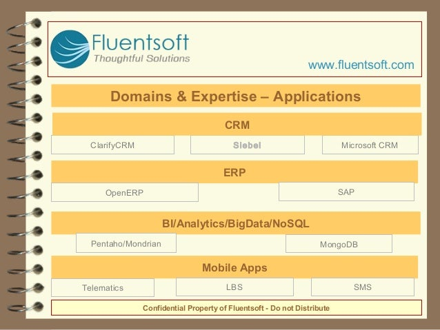 BI/Analytics/BigData/NoSQL Pentaho/Mondrian MongoDB Confidential Property of Fluentsoft - Do not Distribute ClarifyCRM Sie...