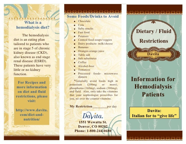 5694680-697865What is a hemodialysis diet?The hemodialysis diet is an eating plan tailored to patients who are in stage 5 ...