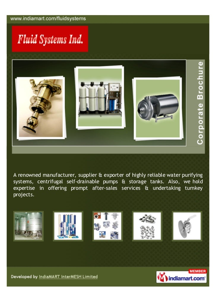 A renowned manufacturer, supplier & exporter of highly reliable water purifyingsystems, centrifugal self-drainable pumps &...